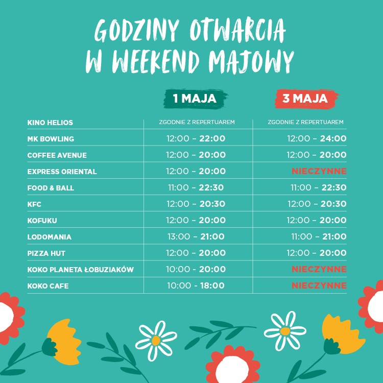 Opening hours on the May Weekend